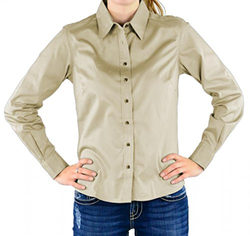 Chestnut Hill Ladies Performance Plus Long Sleeve Twill - Stone/Light Blue CH605W (Performance Long Sleeve Twill Shirt)