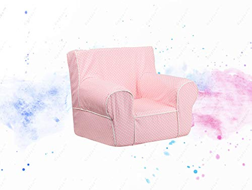 - GUPLUS-Small Light Pink Dot Kids Chair with White Piping Kids Comfy Chair Durable Foam Insert Portable Lightweight Design Carrying Handle Light Pink Cover with Mini White Dots Cotton-Twill Upholstery