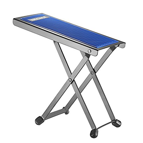 Neewer NW001 Adjustable Guitar Foot Stool, Sturdy Solid Iron Pedal Rest with 4 Fixed Height Positions Non-slip Rubber End Caps and Pad for Classical Flamenco Acoustic or Electric Guitar Players(Blue)