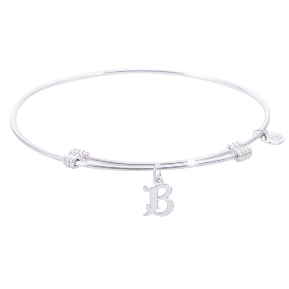 Sterling Silver Rembrandt Initial B Charm Expandable Wire Tranquil Bangle