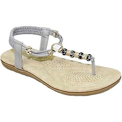 1f00107b2e6 Sapphire Boutique by Sapphire JLH879 Murana Ladies Jewelled Padded Elastic  Toe Post Thong Beaded Sandal