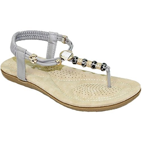 Sapphire Boutique JLH879 Murana Womans Elastic Padded Jewelled Thing Toe Post Beaded Sandal Grey gKJAVZ5a