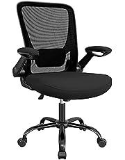 SONGMICS bureaustoel met opklapbare armleuningen, bureaustoel met netbespanning, ergonomische computerstoel, 360°-draaistoel, verstelbare lendensteun, ruimtebesparend, zwart OBN37BK