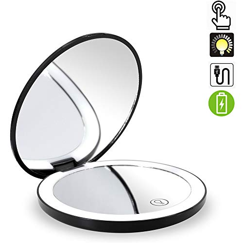 Travel Lighted Makeup Mirror,7X/1X Magnification Compact Vanity Mirror with Lights, USB Rechargeable LED Lighted Handheld Mirror,Dimmable Cosmetic Mirror with Touch Screen Switch,USB Charge (Black)