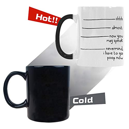 InterestPrint Personalized Shhh, Almost, Now You May Speak, Nevermind I Have to Go Now, Heat Sensitive Color Changing Morphing Coffee Mug, 11 Ounce (New Hampshire Fall Colors Best Time)