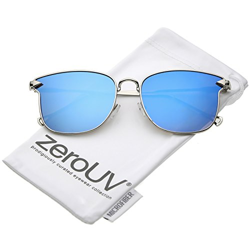 zeroUV - Modern Metal Slim Hook Arms Mirrored Flat Lens Square Sunglasses 55mm (Silver / Blue - Sunglasses Silver Rimmed