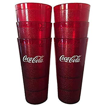 Coca-Cola Cups, Red Plastic Tumbler 24-Ounce Restaurant Grade, Carlisle, Set of -