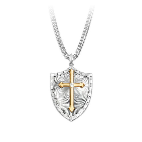 - Necklace: Strength In The Lord Men's Shield Cross Diamond Pendant Necklace by The Bradford Exchange