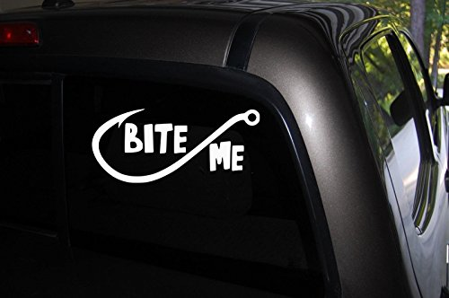 Decals Window Fishing (Bite Me Decal, Fishing Decal Car Truck Automotive Window Black or White Decal Bumper Sticker 3