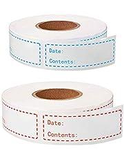 2 Rolls Removable Freezer Labels, Food Freezer Labels Food Date Labels Food Storage Stickers for Food Containers Jars Kitchen Restaurant Storage Organization (Total 300 Pcs, Red, Blue)