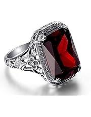 Wenbin Elegant Huge Natural 3.5Ct Tanzanite 925 Silver Ruby Ring Women Wedding Engagement Size 6-10