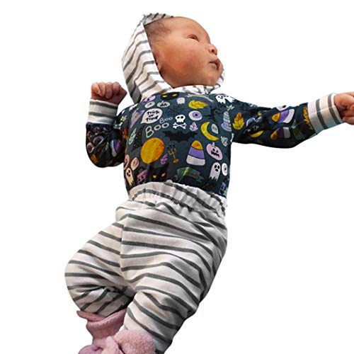 XILALU Newborn Infant Baby Romper & Pants, Toddler Boys Girls Halloween Cartoon Striped Long Sleeve Hooded Outfits ()