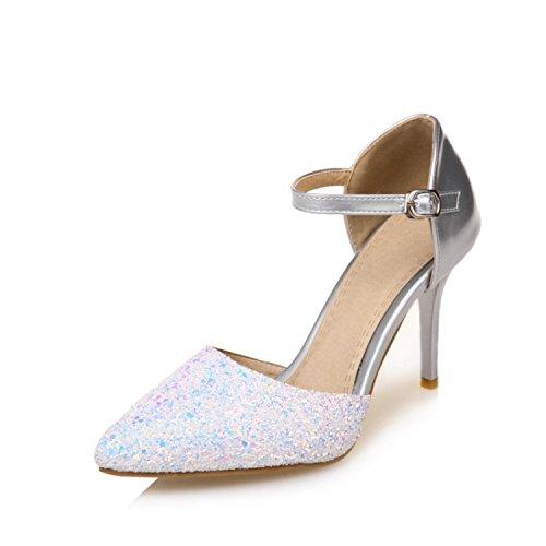 HBDLH 9 Cm De Tacon Alto Sandalias Señaló Cabezas Cierres Sandalias Zapatos De Mujer. Thirty-nine