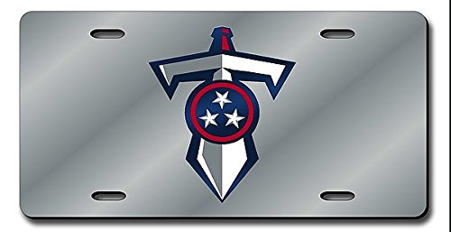Tennessee Titans Laser Cut Silver Shield & Sword License Plate - Licensed NFL Football Merchandise (Titans Laser Tennessee Silver)