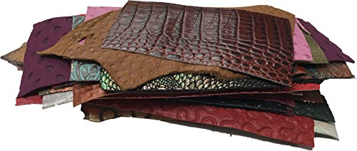 Springfield Leather Company's Printed and Embossed Leather Scraps (1lbs small pieces) (Scrap Leather)