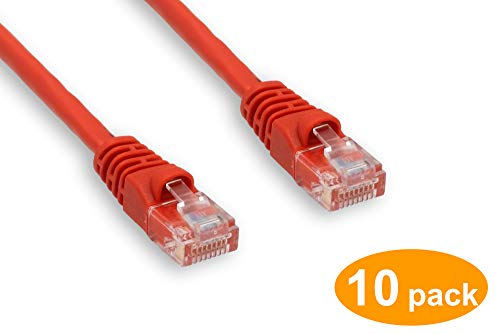 Lynn Electronics CAT6-07-RD 7-Feet Patch Cable without Boots Red 10-Pack