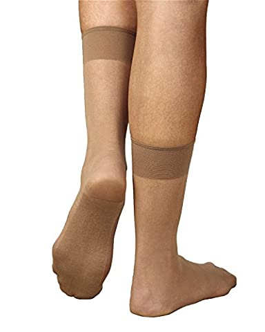 Sheer Cotton Sole Ankle High, Neutral Beige, 12-pk (Ankle High Hose)