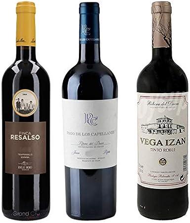 Lote 1.02 - Los mejores Vinos Robles - Ribera del Duero - Seleccionado por Cosecha Privada - 3 Botellas - Finca Resalso, Pago de de los Capellanes, Vega Izán - Añadas actualizadas según bodega