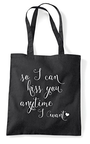 Shopper Tote Time Kiss Statement I Black So You Any Bag Cute Want Can qP1wnxzHw