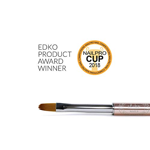 Oval Gel - EDKO Oval Nº6 Gel Brush Professional Nail Brush Tips Builder UV/LED Painting Pen w/Body Cap - Size 6