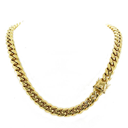 - Harlembling Men's Miami Cuban Link Chain 14k 18k Yellow Gold White Or Rose Gold Plated Stainless Steel 8-18mm Thick (18k Yellow Gold 12mm, 30)