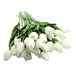 ALIERSA 10-Heads Home Deocr Tulip Real Touch Tulips Artificial Flowers Bouquets (White) 49