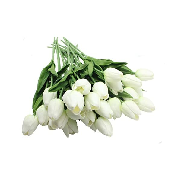 20- Heads Home Deocr Mini Tulip Real Touch Tulip Artificial Flowers Bouquets (White)