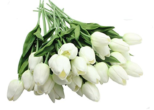 10-heads Home Deocr Mini Tulip Real Touch Tulip Artificial Flowers Bouquets (white)