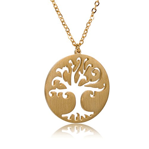 Tree of Life Necklace Pendant Jewelry - 18k Gold Plated Round Disc Charm ()