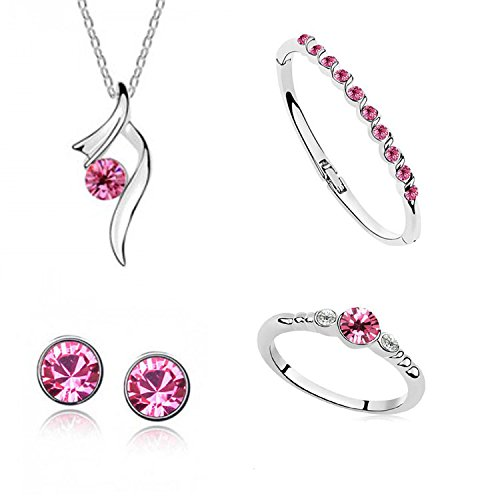 buy crunchy fashion jewellery crystal pendant necklace set with