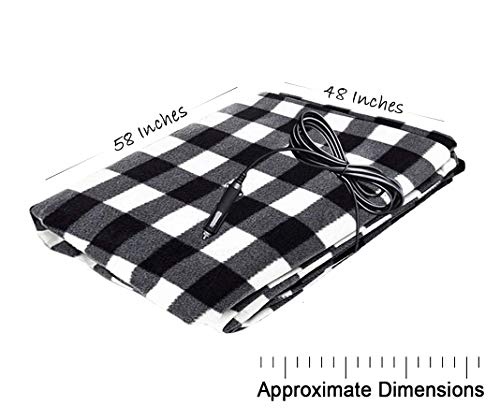 Zento Deals 12V Electric Blanket Red Plaid Premium Quality Blanket for Cold Day