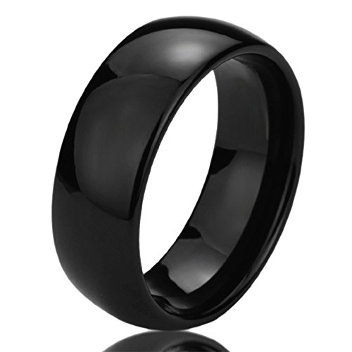 Free Engraving Personalized Titanium Comfort Fit Wedding Band Ring 8mm Black High Polished Classy Domed Ring