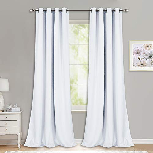 NICETOWN Long White Curtains for Patio - (52 inches Wide x 108 inches Long, White, 2 Panels) Home Decoration Grommet Top Drapes, White Bedroom Panels