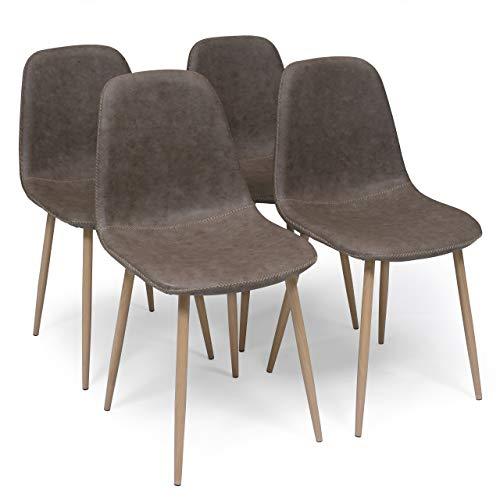 Homely - Pack de 4 sillas de Comedor Cairo Antique tapizadas en Polipiel y Patas de Metal simil Madera (MY-4 MARRÓN)