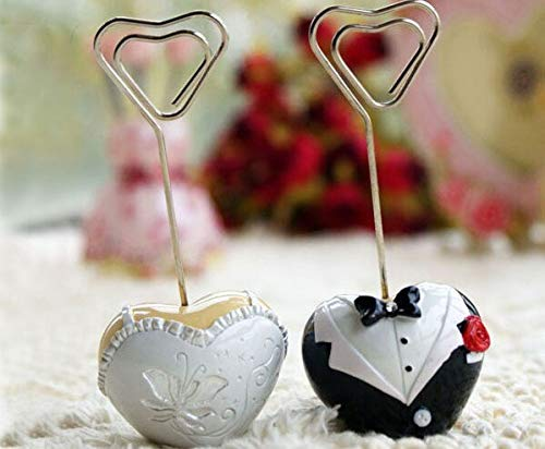 Bride And Groom - 2017 100pcs Lot 50 Pairs Style Bride And Groom Heart Shaped Place Card Holder Wedding Favor Free - Decal Sweaters Itty Cups Glass Halloween Keepsake Disney Ugly Flip]()