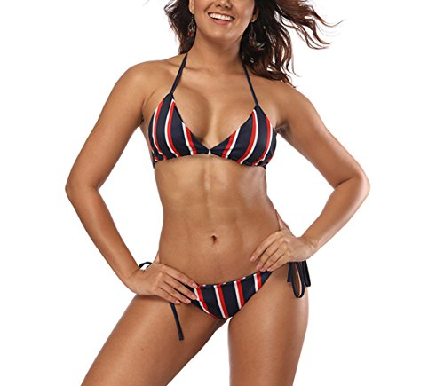 YAUASOPA Women Striped Triangle Bikini Sets Female Top Tie Side Bottom Padded Swimsuit (Small(2-4), Blue) (Brazillian Bikini)