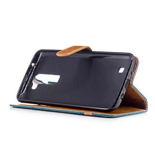 Para LG K7K8 funda, (Vaquero color azul marino) Dril de algodón de colores mezclados caja del teléfono móvil de cuero PU Leather cubierta Función de Soporte Billetera con Tapa para Tarjetas correa de  Verde vaquero