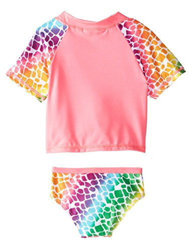 Wippette Baby Girls Infant Giraffe Rash Guard Two Piece Swim Set, Pink Glo, 24 Months