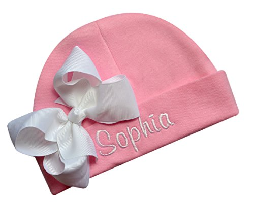 (Personalized Embroidered Baby Girl Hat with Grosgrain Bow with Custom Name (Pink Hat/White)