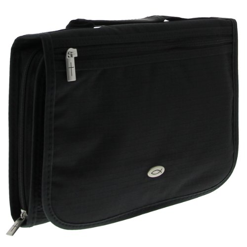 Three-Fold Textured Poly-Canvas Bible Organizer (Large, Black)