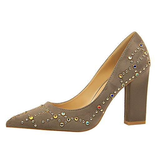 de Zapatos Boca Femeninos Punta Zapatos de de Solo Superficial de de Zapato Qiqi Boda Gruesa Baile Zapatos Tribunal y Xue Sandalias con Tacón Satén los Color Alto Gris Zapatos HqFg6npv6w