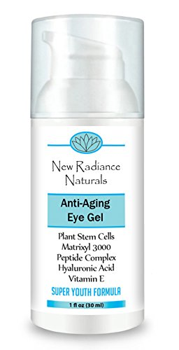 New Radiance Naturals - Eye Gel Cream With Plant Stem Cells + Matrixyl 3000 + Hyaluronic Acid + Cucumber + Organic Jojoba Oil & Aloe+ Vitamin E & MSM For Anti-Aging, 1 Ounce by New Radiance Naturals