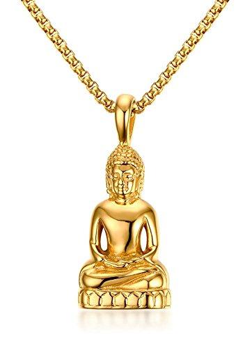 XUANPAI Stainless Steel Gold Plated Tibetan Amitabha Buddha Amulet Pendant Necklace,Free Box Chain 24