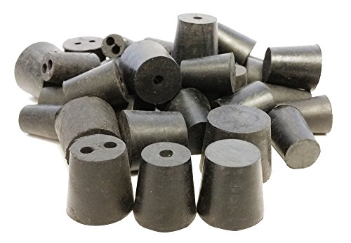 (GSC International RS-S-1H-2H-1LB Stoppers Rubber, Assorted Solid, 1, and 2 Hole, 1 lb., Pack of 38)