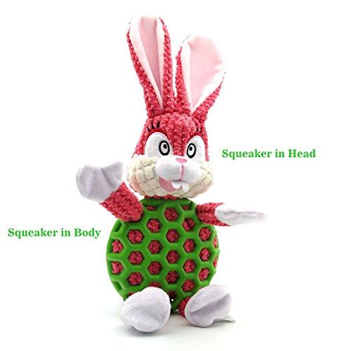 EETOYS Squeaky Plush Toy Durable Low No Stuffing Animal Toy for Dog Medium Rabbit