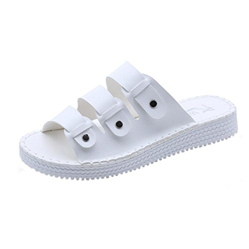 Women Flat Sandals Slippers Shoes Summer Open Toe Leather Casual Beach (US:6, White) from Goodtrade8