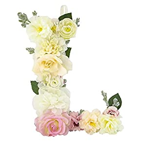 DARONGFENG RuralStyle Floral Letters, Handmade Wood Artificial Flower Letter Monogram for Wall Door Desk Top Decoration, Nursery/Baby Shower/Children Room/Wedding /Birthday Party Decor (L) 2