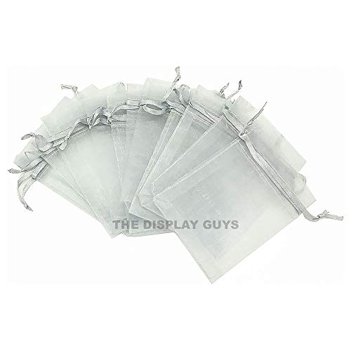 (The Display Guys 48-pc 2x3 Silver Sheer Organza Gift Bag with Drawstring, Jewelry Candy Treat Wedding Party Favors Mesh Pouch)