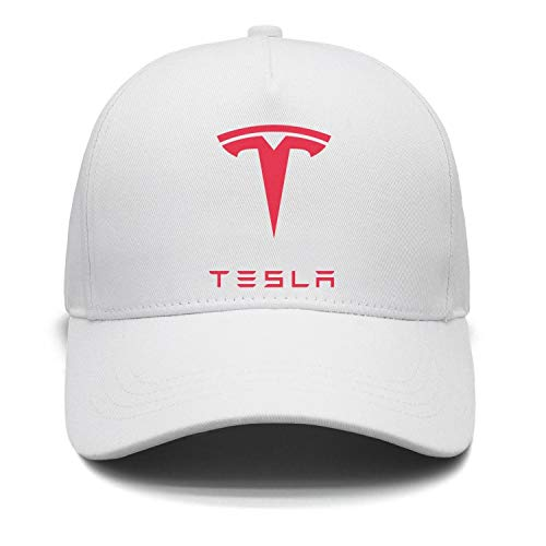 - NIDHBD Fashion Tesla-Logo-Symbol-Emblem- White Fitted hat Womens Mens