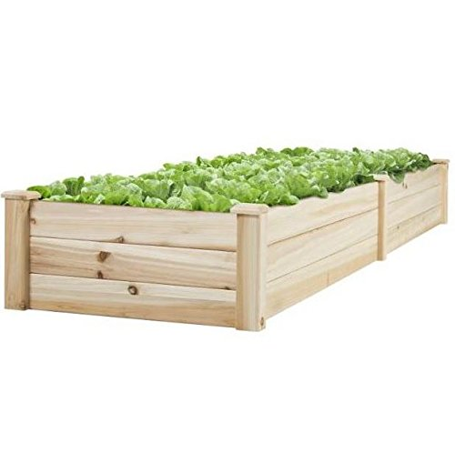 New 8' x 2' Wood Garden Raised Bed Vegetables Planter Kit Elevated Box Flower Gardening Grow Plant Herb Cedar Outdoor Patio Backyard Pots Wooden by Unknown